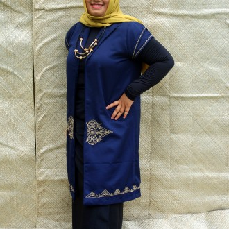 [SOLD] OUTER BIRU DONKER MOTIF ACEH
